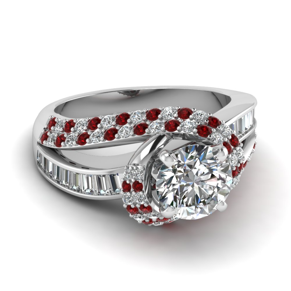 Red Ruby Side Stone Engagement Rings