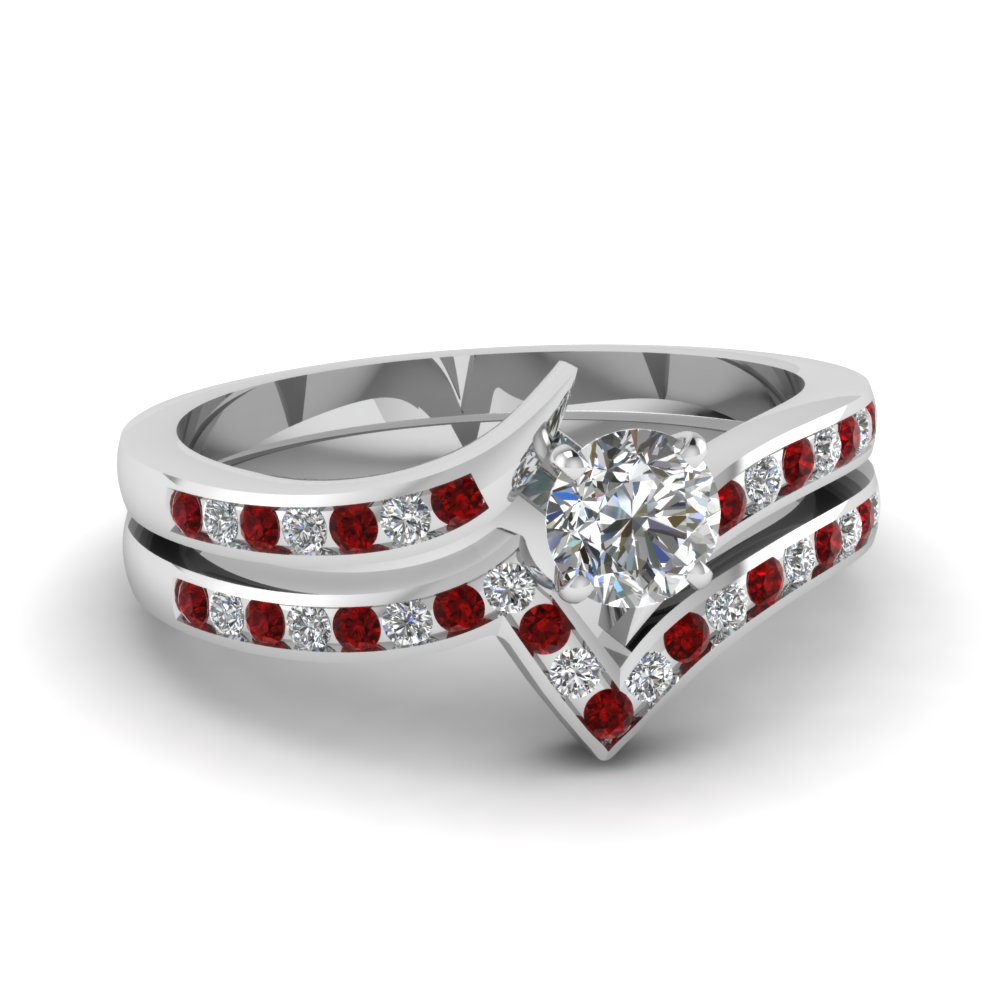 twist channel round diamond wedding set with ruby in FDENS3094ROGRUDR NL WG 30