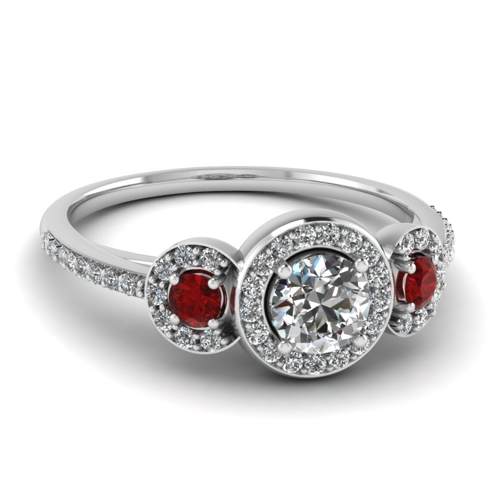 44912e114 art deco 3 stone halo round diamond engagement ring with ruby in  FD121999RORGRUDR NL WG
