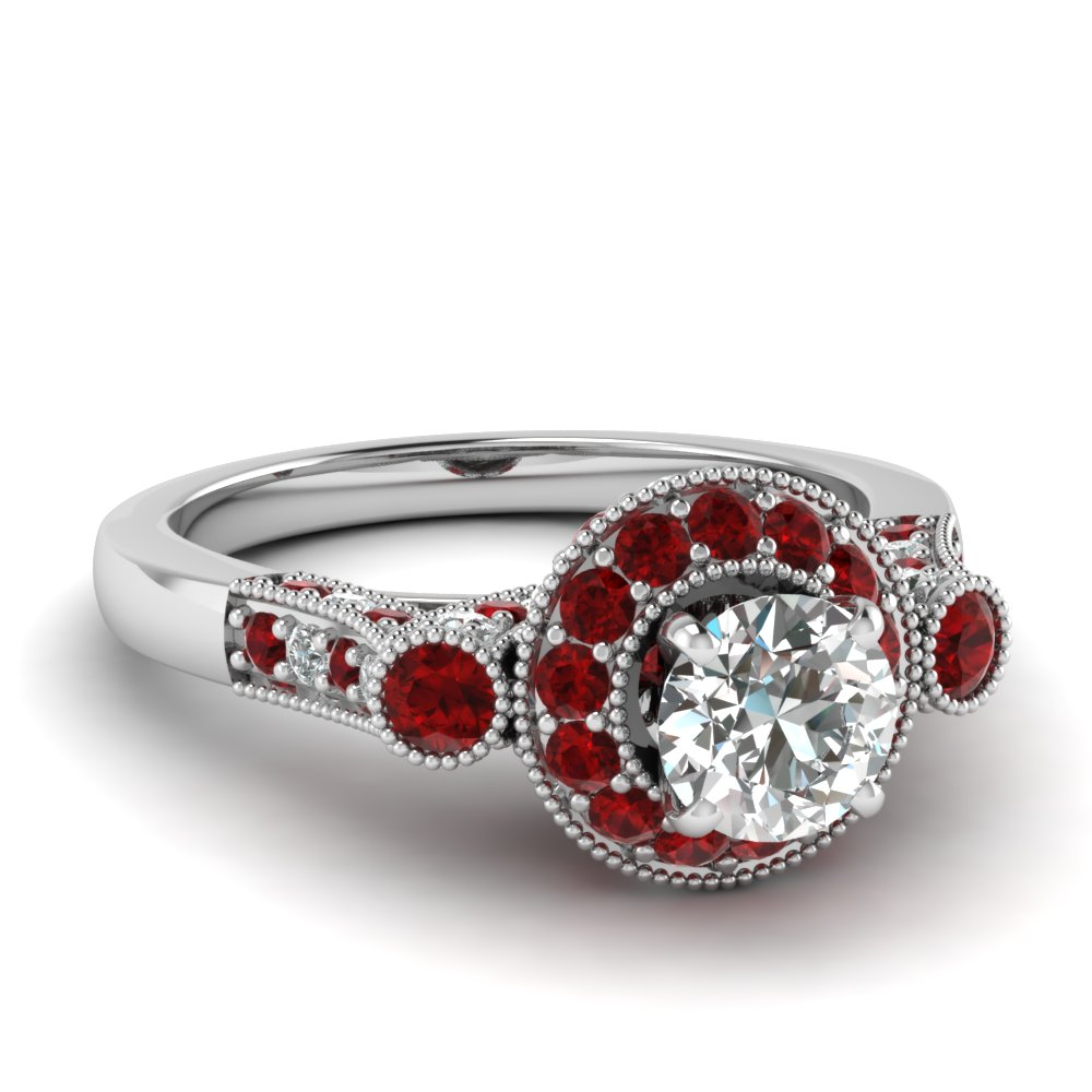 White Gold Milgrain Ruby Ring