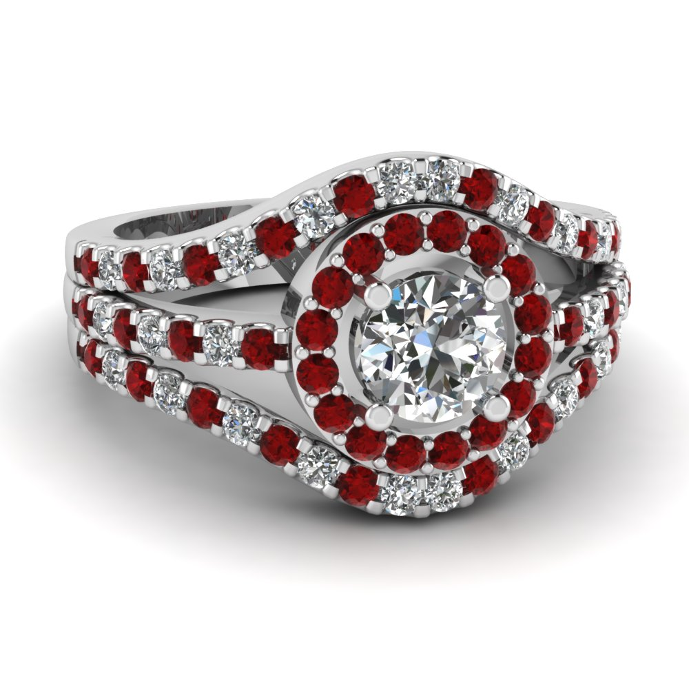 Round Ruby Shared Prong Halo Ring
