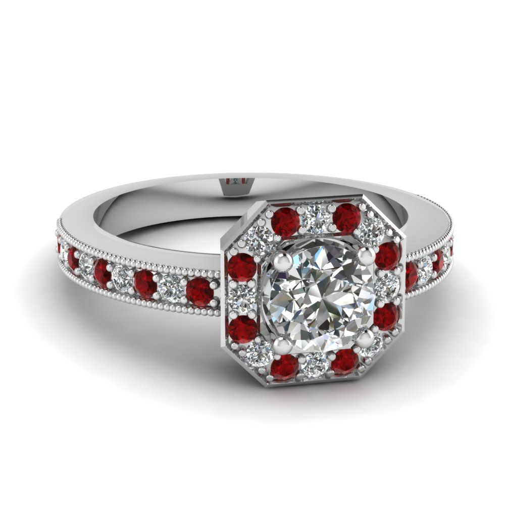 octagon round diamond engagement ring with ruby in FDENR9026RORGRUDR NL WG