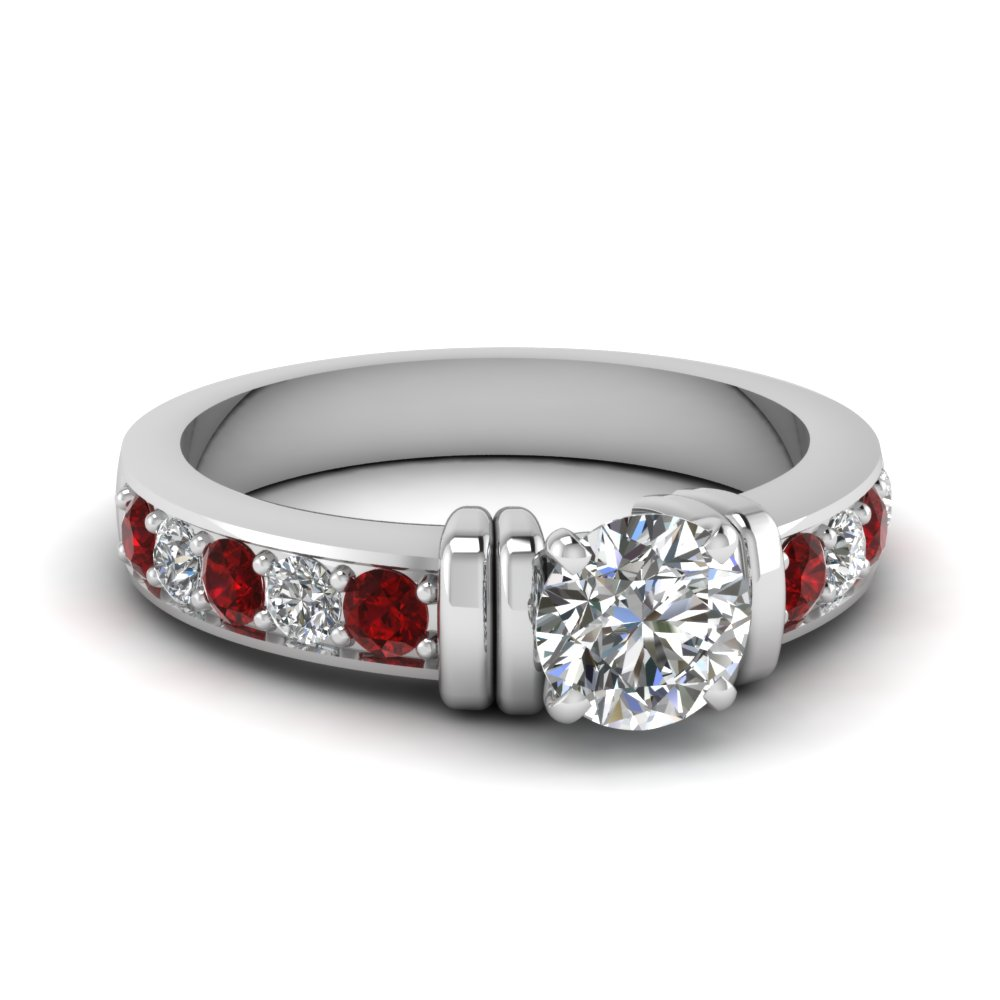 simple bar set round diamond engagement ring with ruby in FDENR957RORGRUDR Nl WG