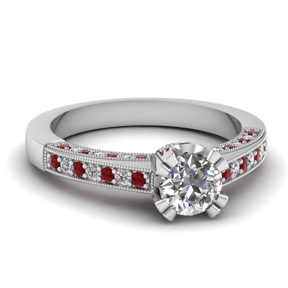 pave milgrain diamond engagement ring with ruby in FDENR966RORGRUDR NL WG