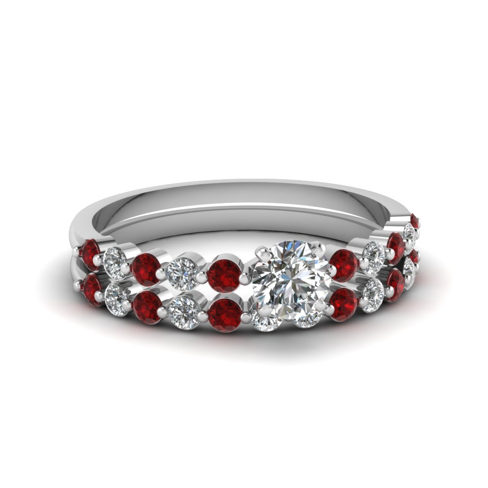 Round Cut Bridal Set With Ruby