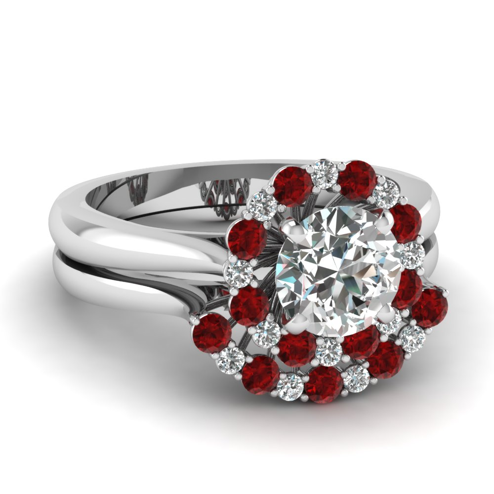 Ruby With Round Diamond Set