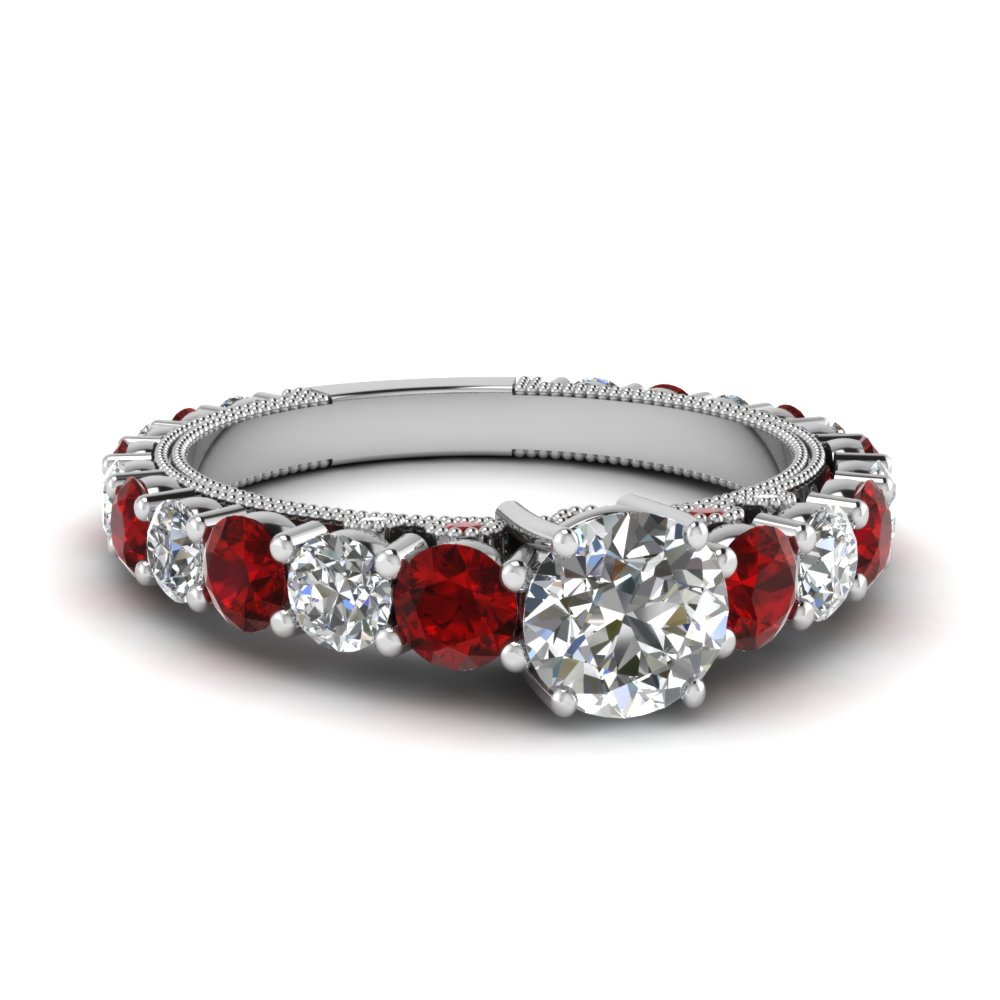 Shared Prong Diamond Graduated Engagement Ring With Ruby