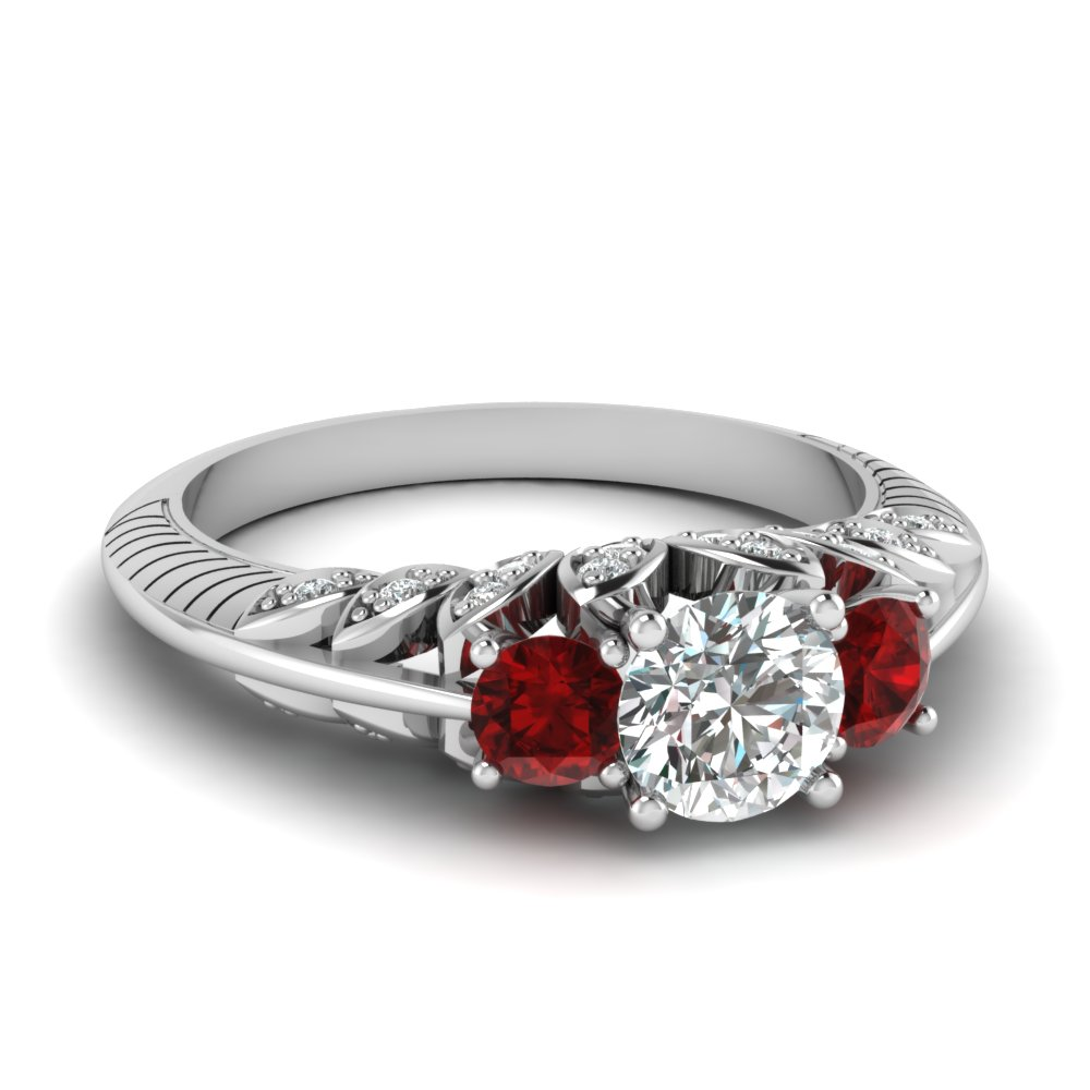 Victorian Flower Diamond Ruby Ring