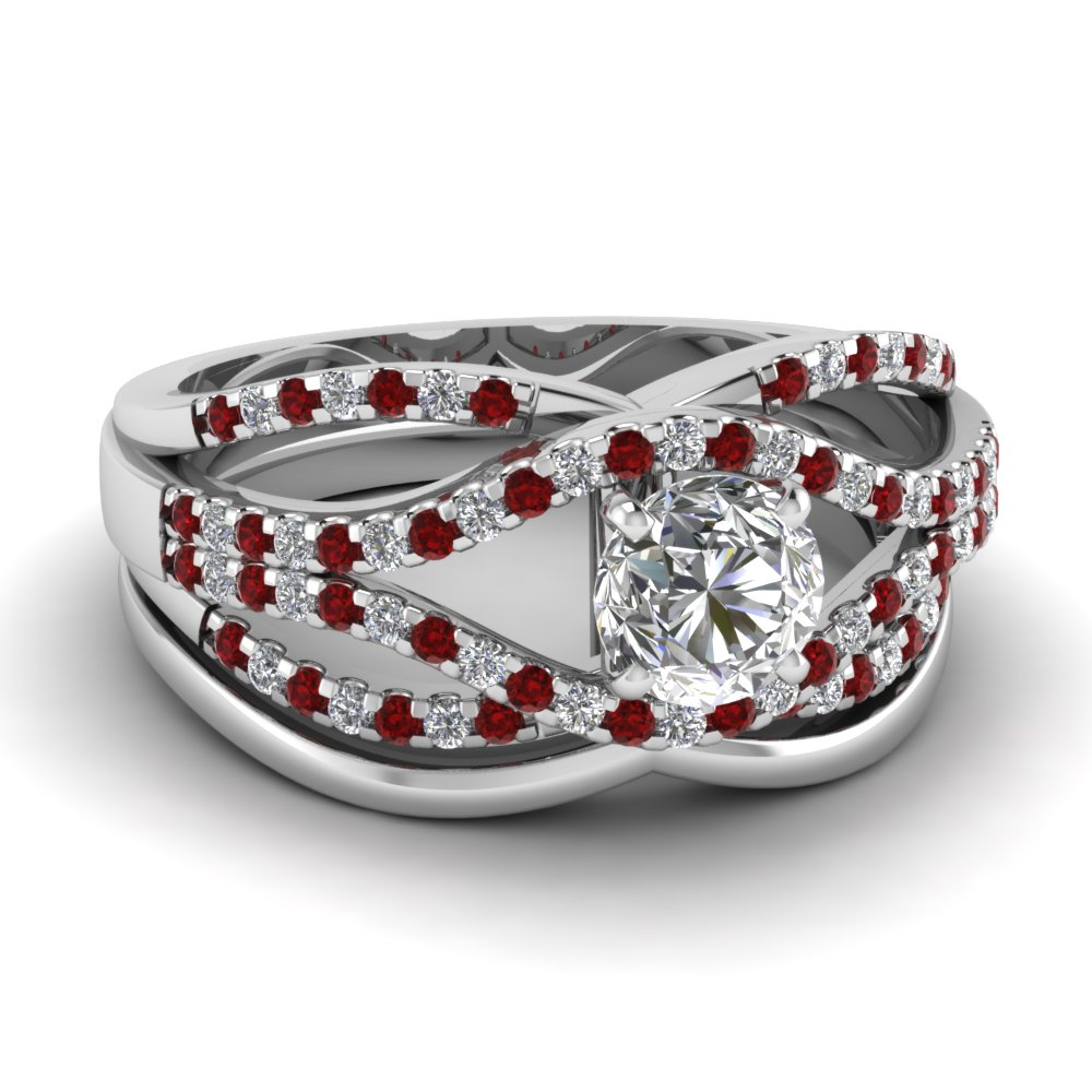 crossover multi strand round diamond wedding ring set with ruby in FD67320ROGRUDR NL WG