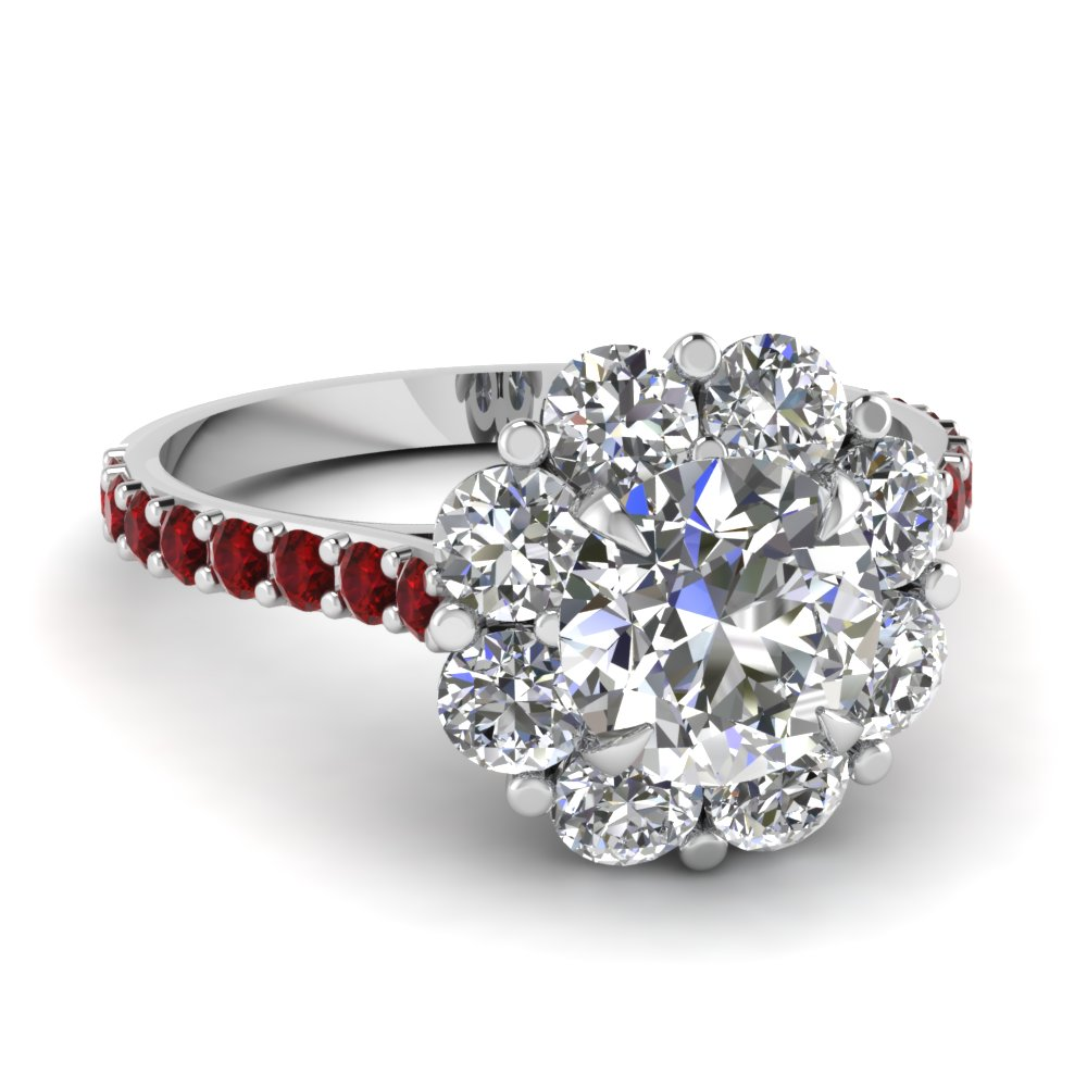 Flower Halo Diamond Engagement Ring With Ruby In 14K White