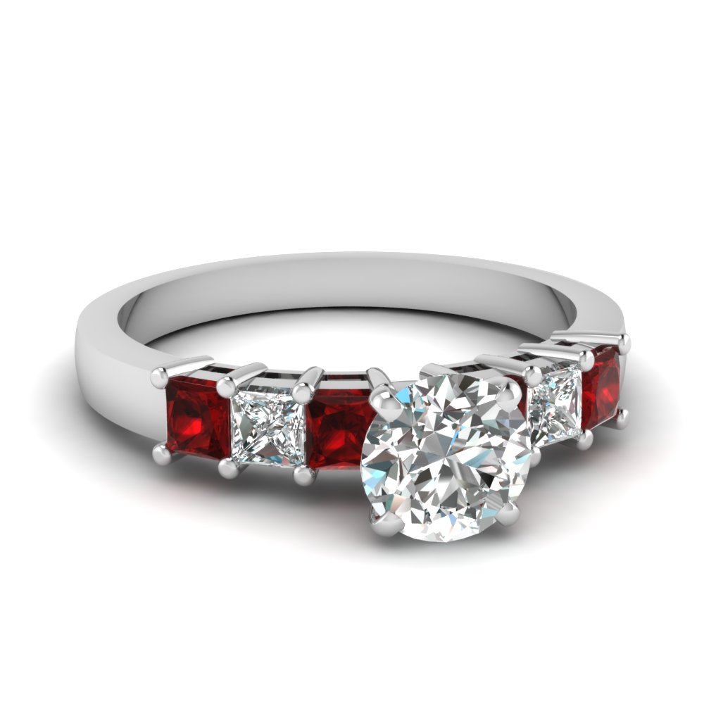 7 stone round diamond engagement ring with ruby in FDENS1027RORGRUDR NL WG