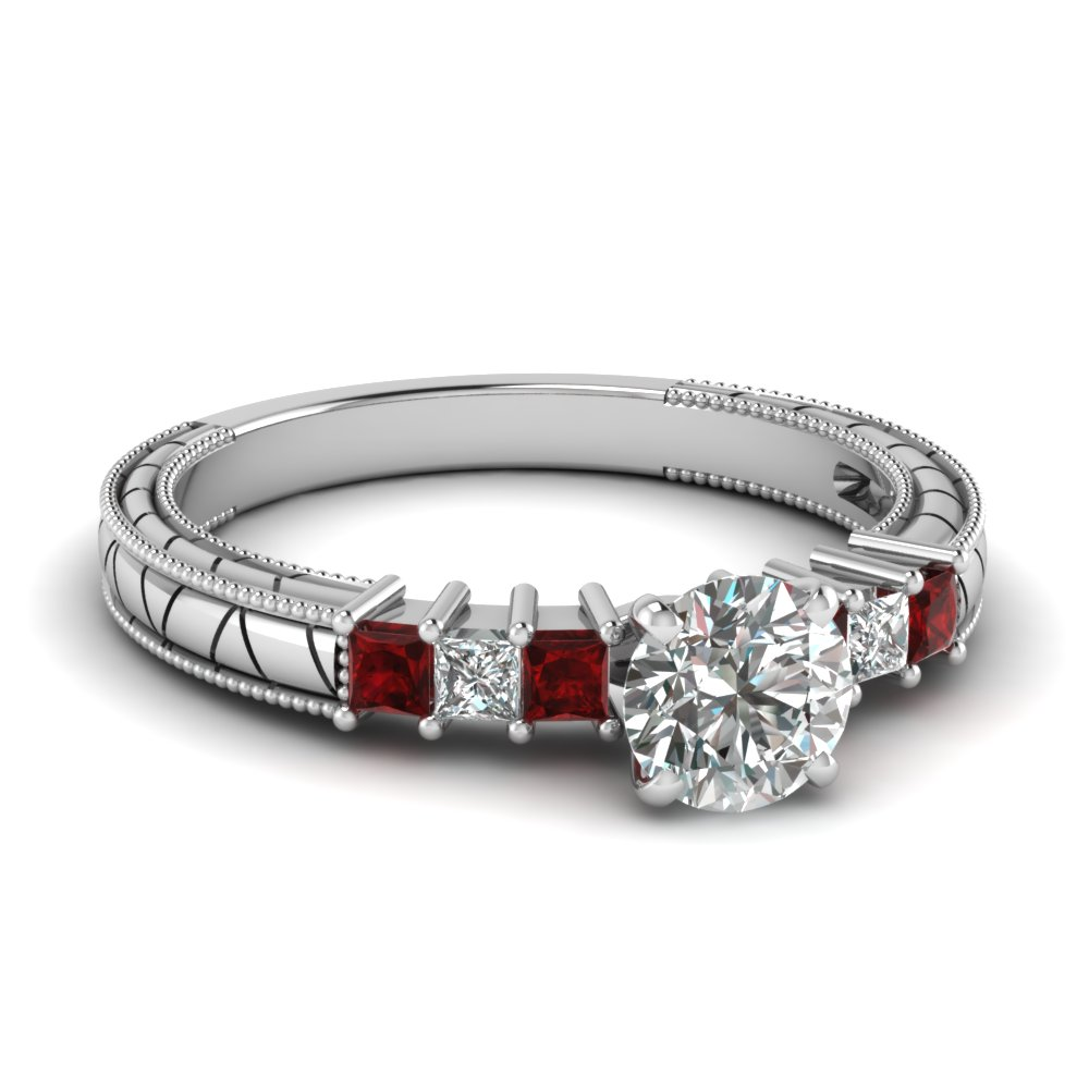 Engraved Pattern Ruby Round Diamond Engagement Ring
