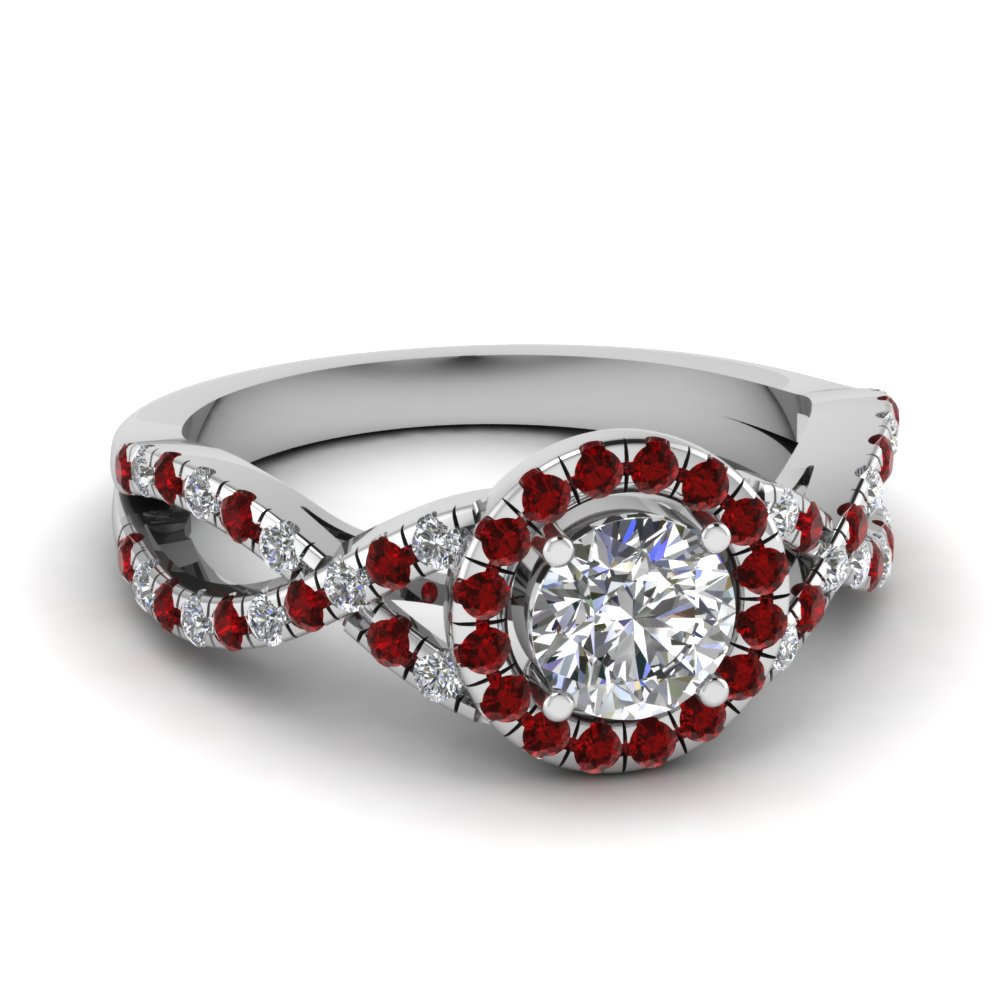 Round Cut Diamond Halo Engagement Rings With Red Ruby In 14k White Gold