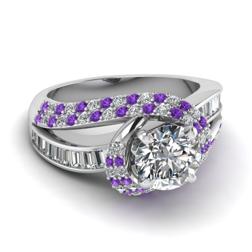 white gold round white diamond engagement wedding ring - Purple Wedding Rings