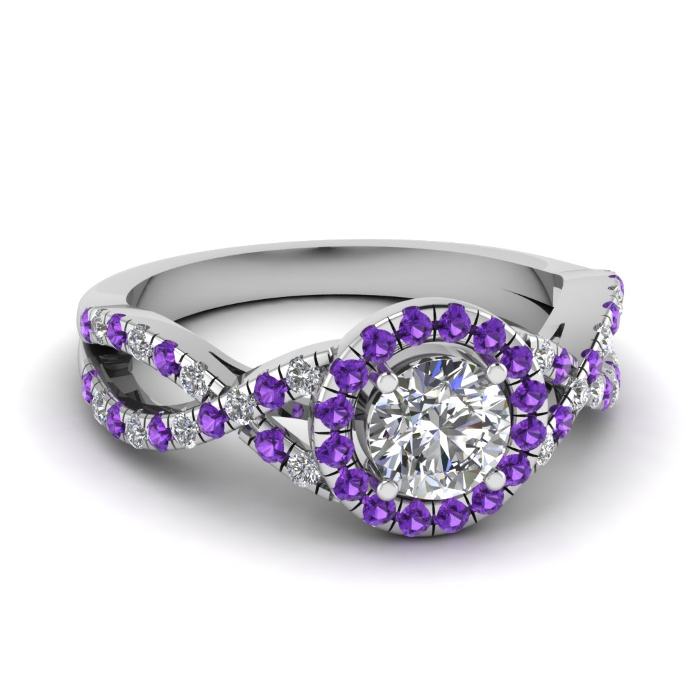 Halo Purple Topaz Round Diamond Ring
