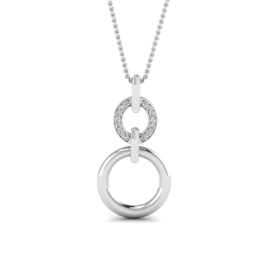 White Gold Round White Diamond Fancy Pendant In Pave Set