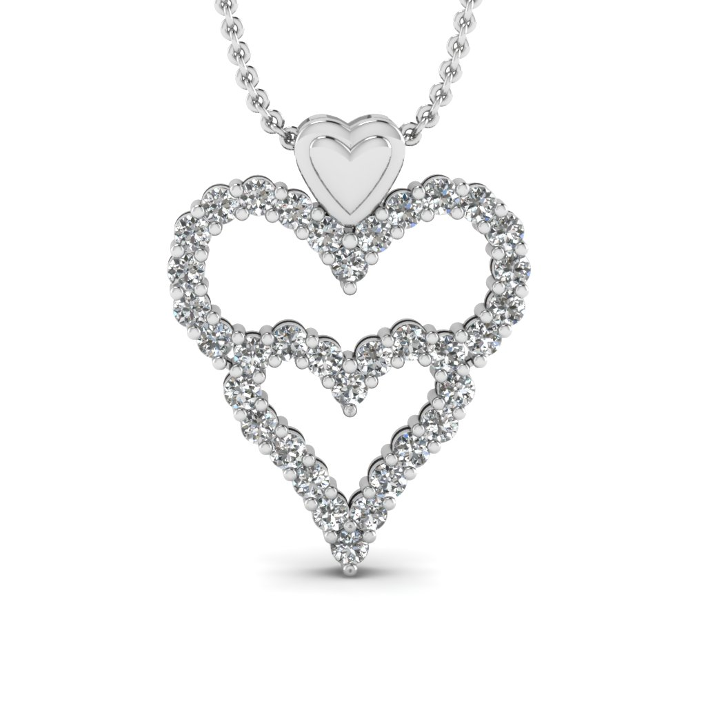 Beautiful Gold Diamond Tri Heart Pendant