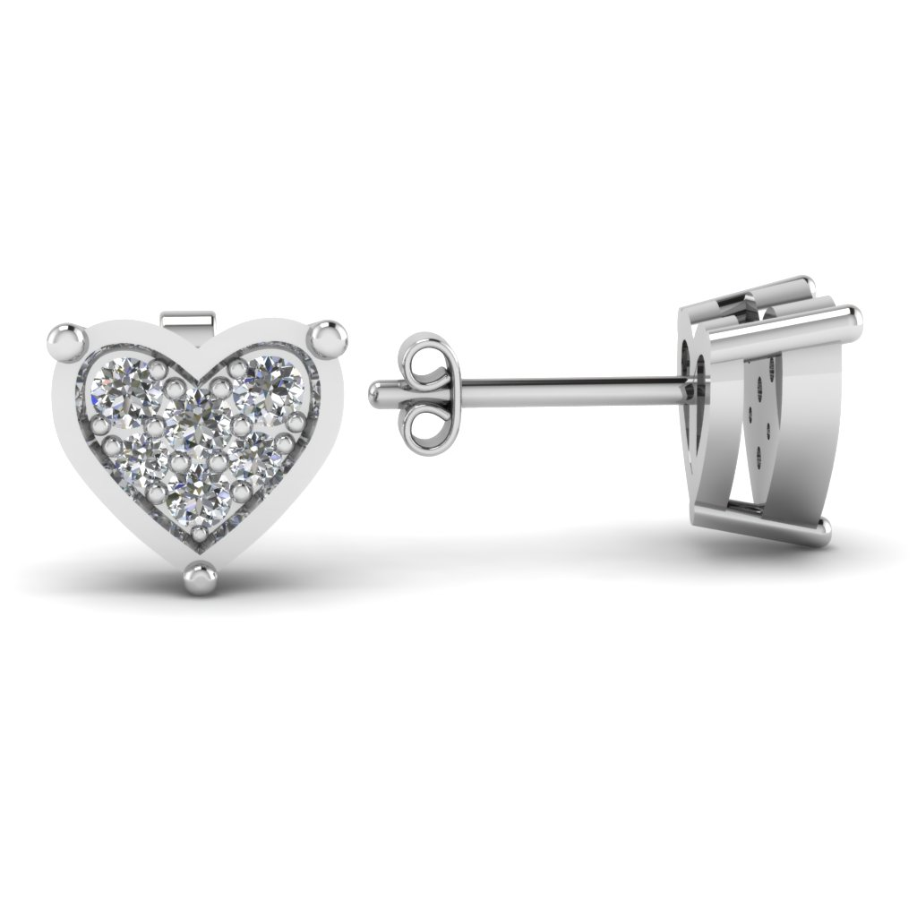 Encrusted Heart Stud For Women