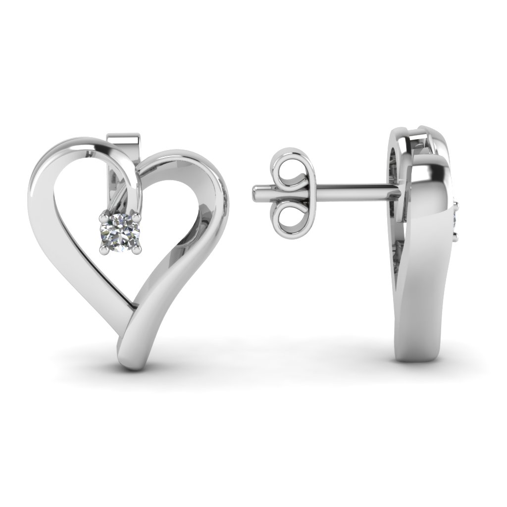 diamond shaped heart in gold home white earrings stud