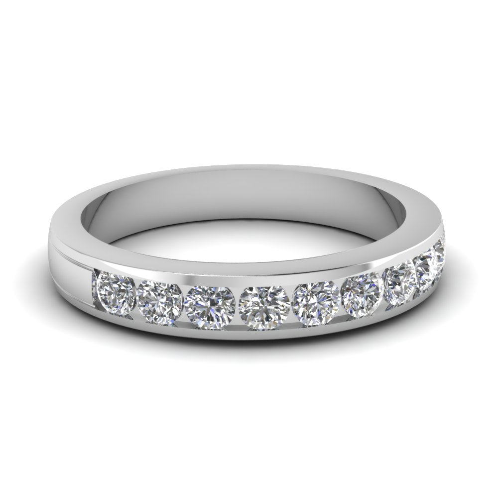 round diamond channel wedding band in FD1028B NL WG
