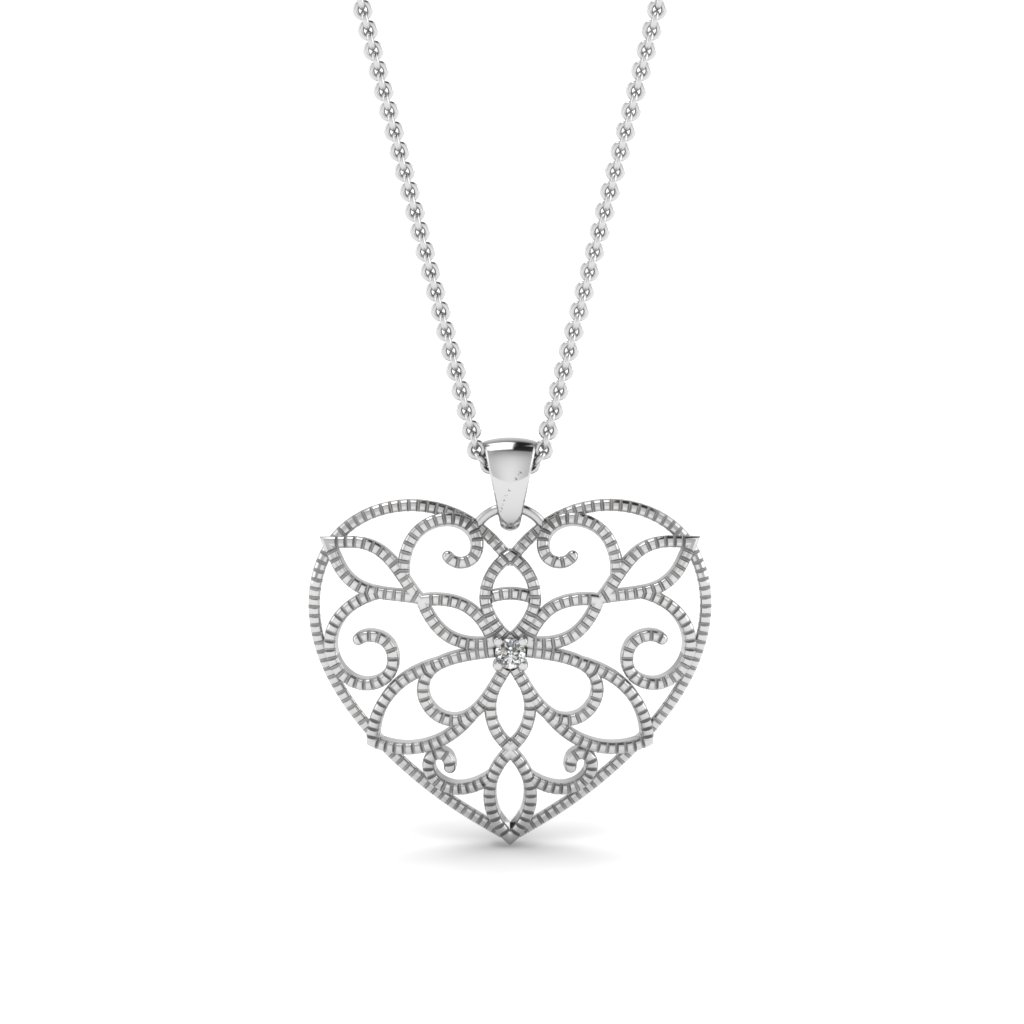 filigree heart diamond pendant in 14K white gold FDPD84895 NL WG
