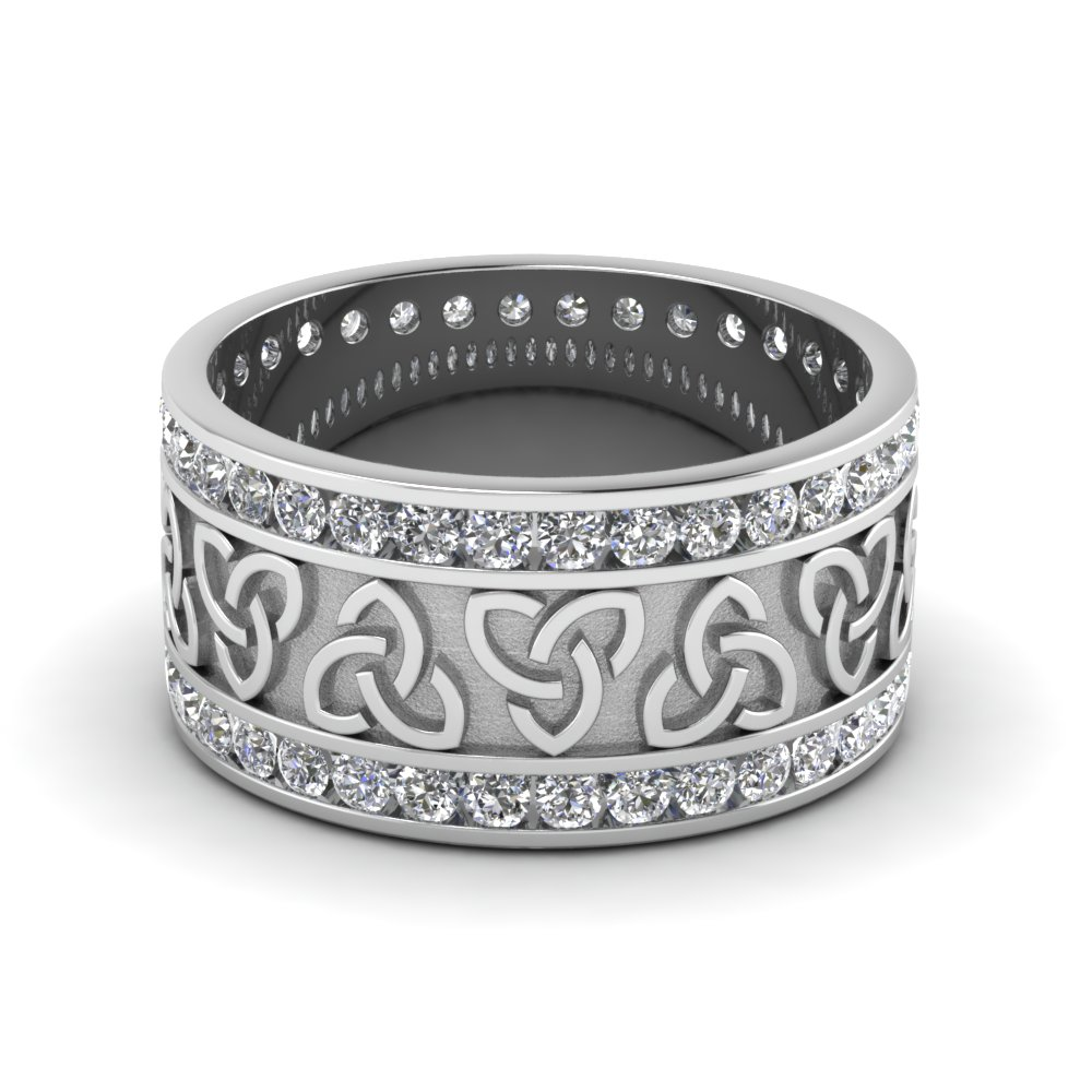 diamond celtic wedding band in FDDB1337B NL WG