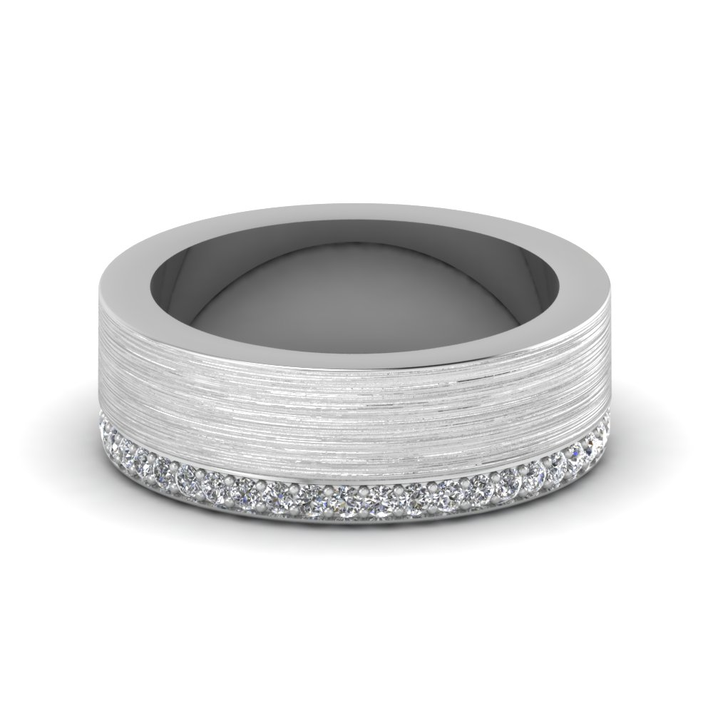 brushed diamond wedding band in FDDB1339B NL WG