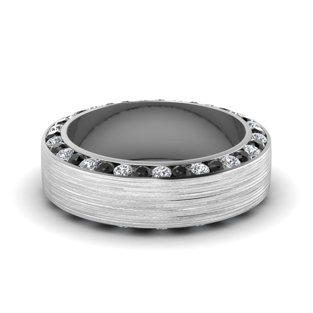 Brushed Channel Mens Wedding Band