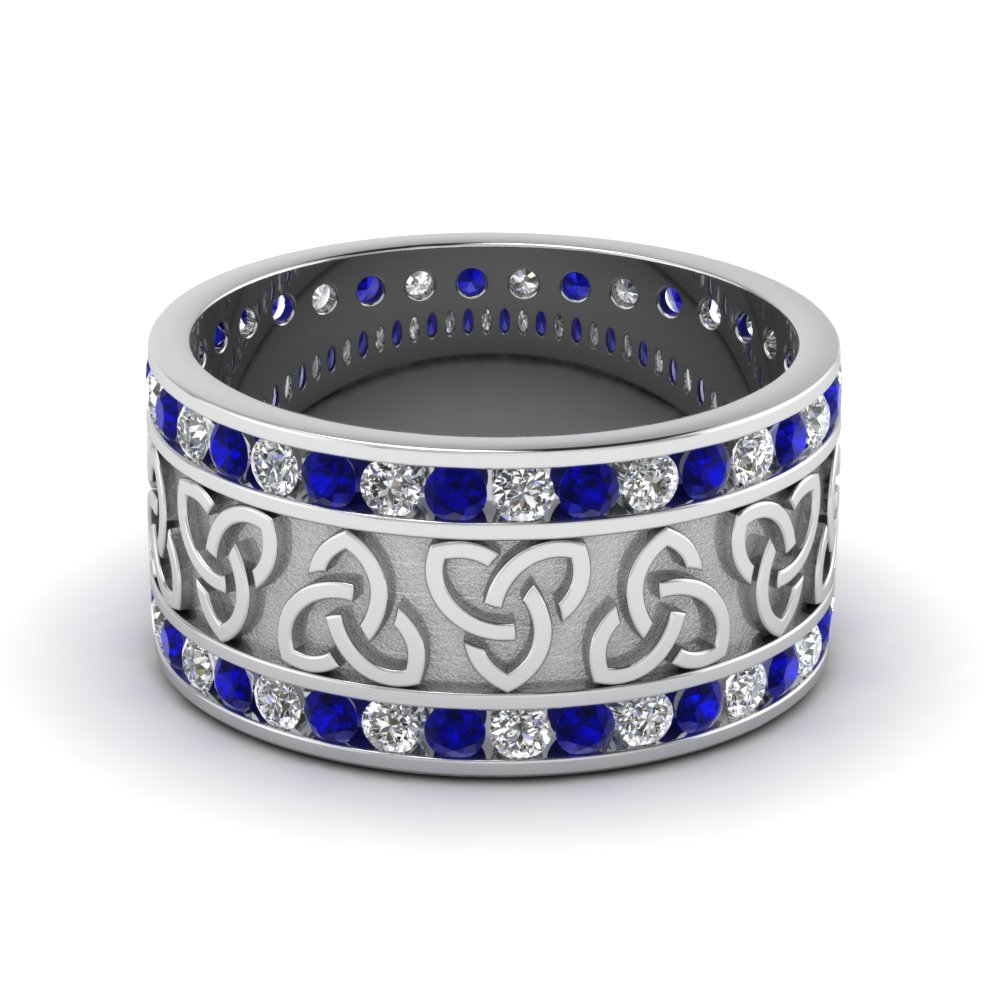 Diamond Celtic Wedding Band With Sapphire In 950 Platinum
