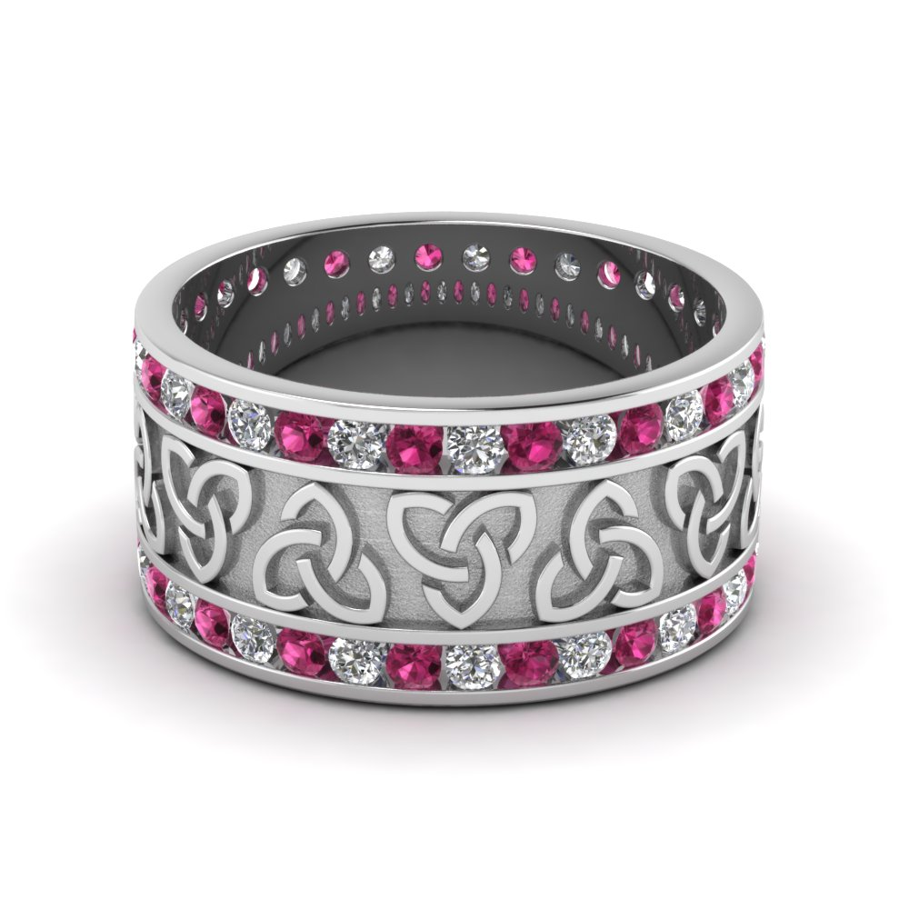 Diamond Celtic Wedding Band With Pink Sapphire In 14K