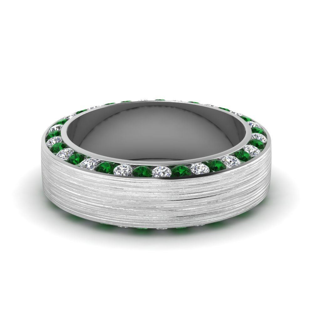Brushed channel diamond mens wedding band with emerald in for Emerald green wedding ring