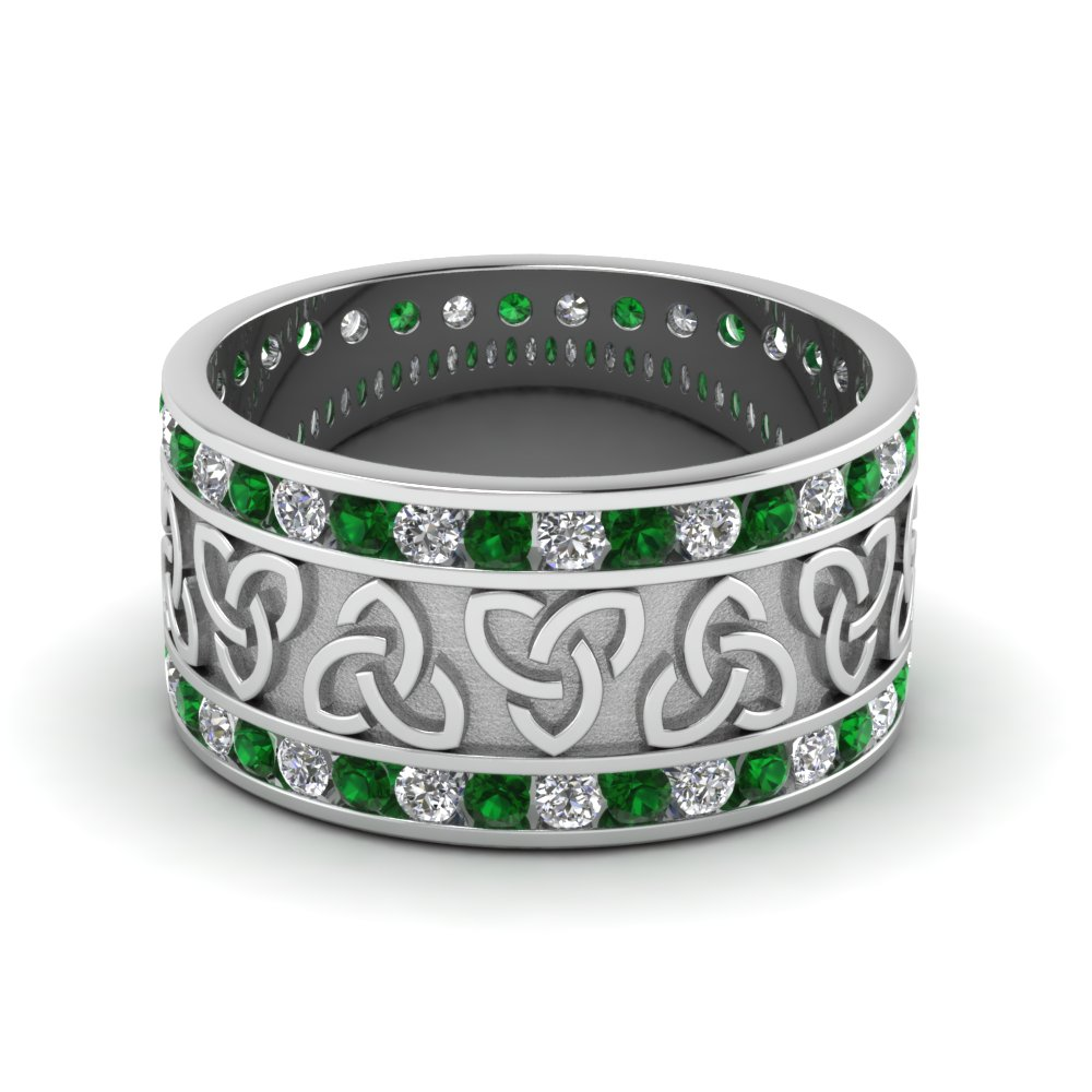Celtic Wedding Band With Emerald