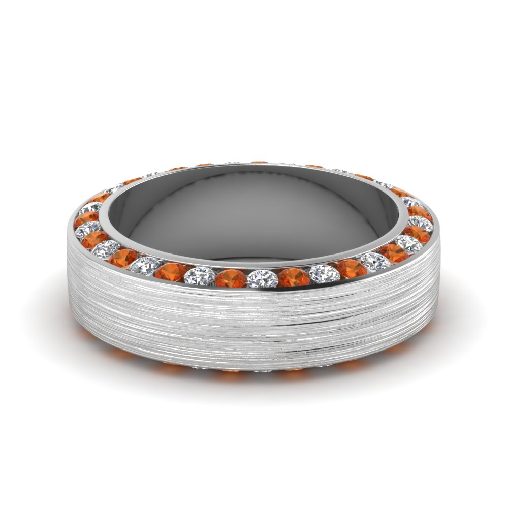 White Gold Round Diamond Mens Wedding Band