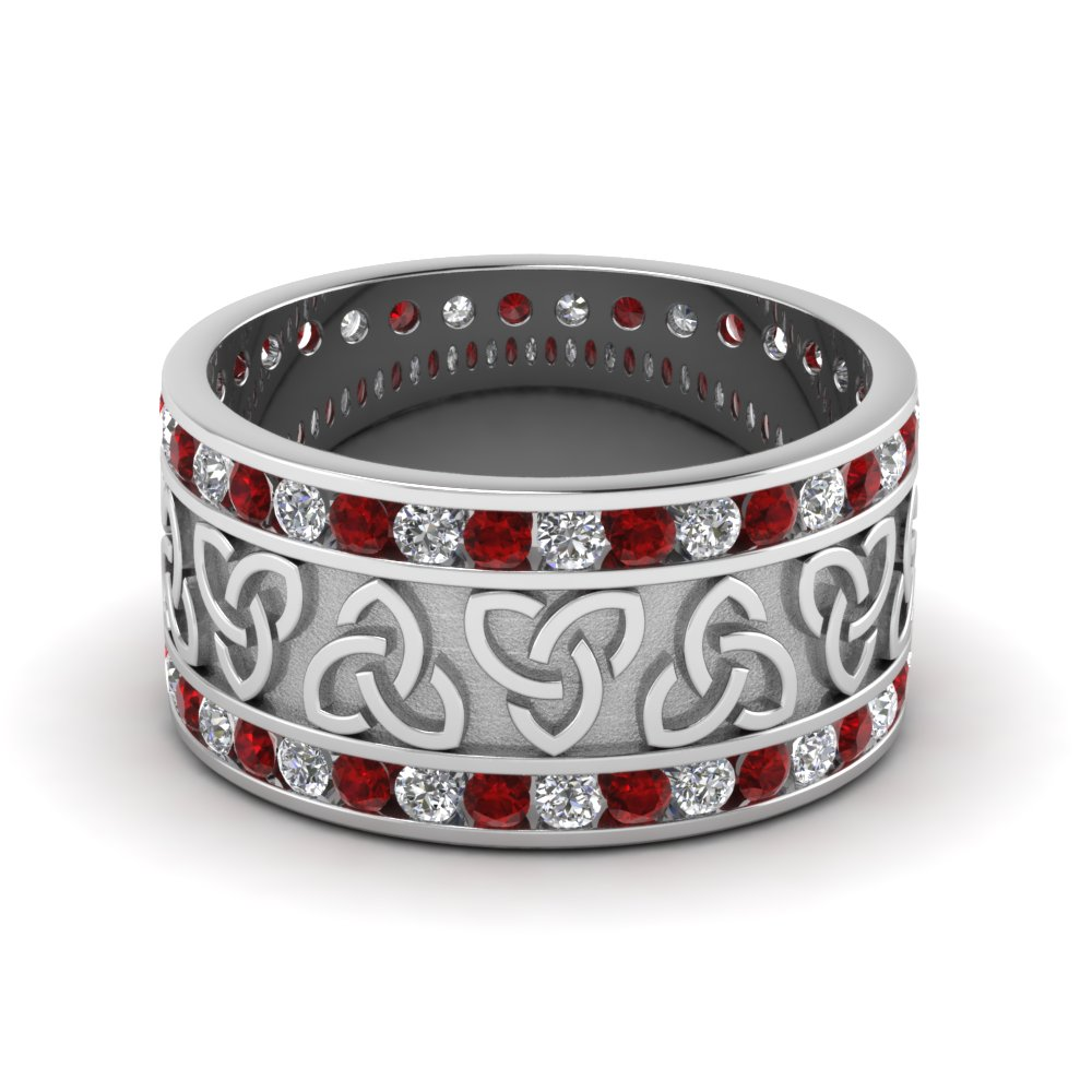 Diamond Celtic Wedding Band With Ruby In Fddb1337bgrudr Nl Wg