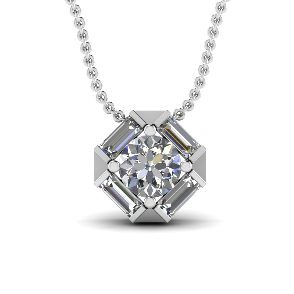 Octagonal Diamond And Baguette Pendant
