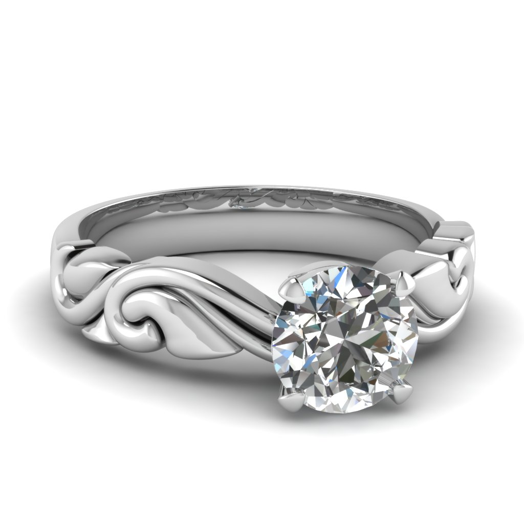 filigree solitaire diamond engagement ring in FD121975ROR NL WG