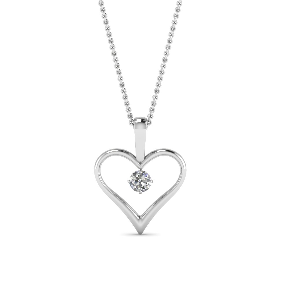 Open heart diamond solitaire drop pendant in 14k white gold open heart diamond solitaire drop pendant in fdpd60961 nl wg aloadofball