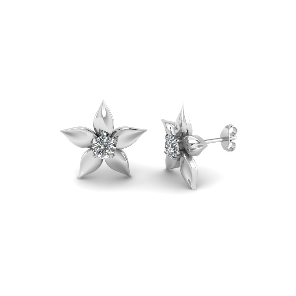 flower petal diamond stud earring in FDEAR1077 NL WG