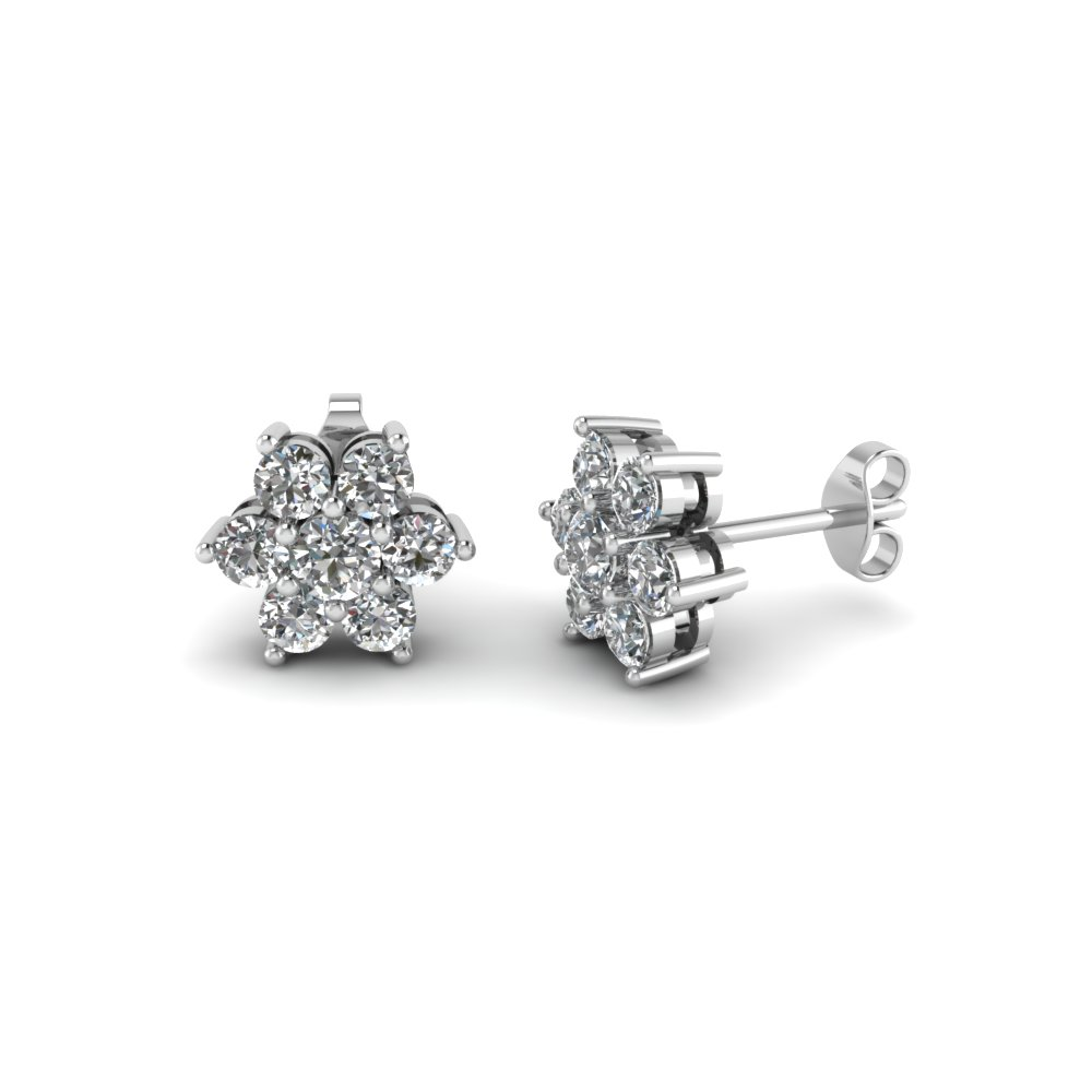 41e353a85 Floral Cluster Diamond Earring In Sterling Silver | Fascinating Diamonds