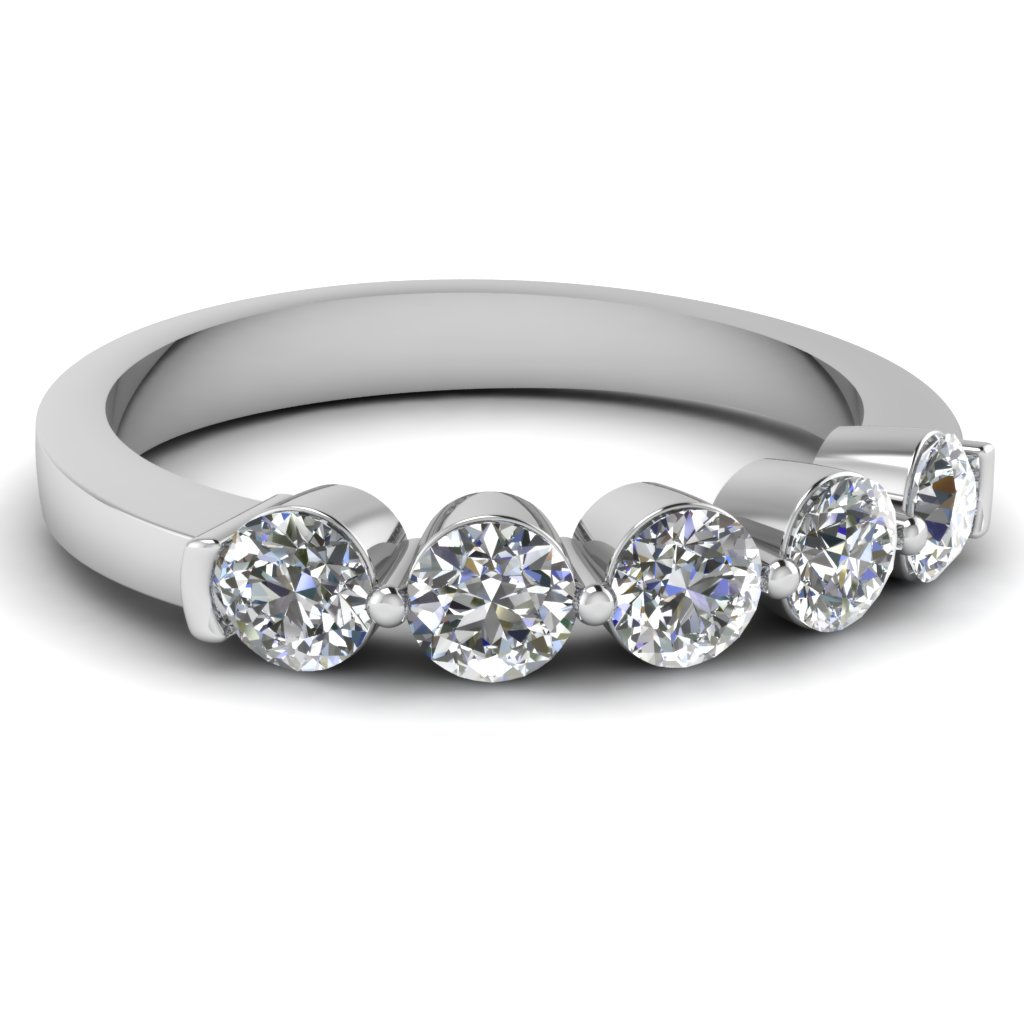 White Gold Round Diamond Womens Wedding Band
