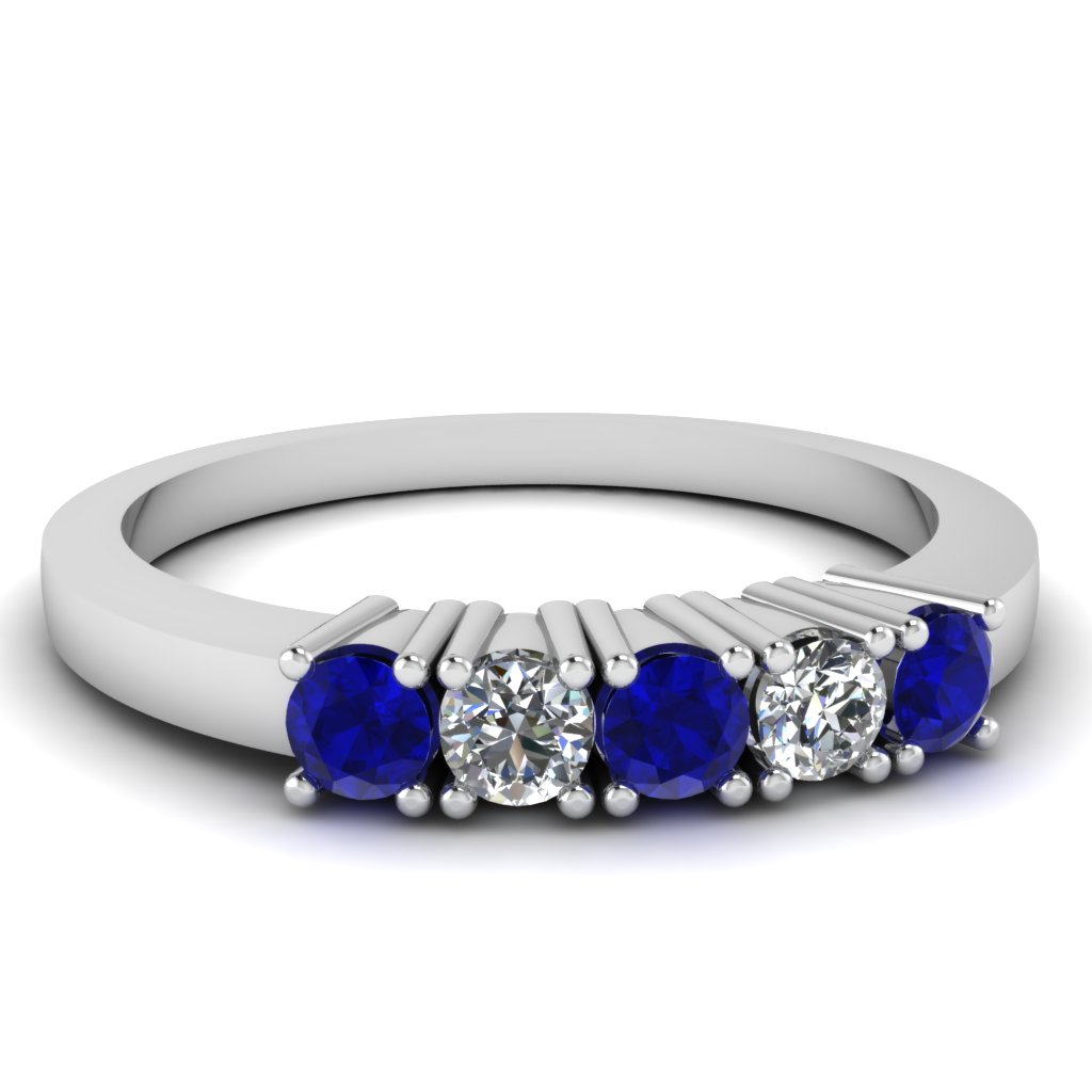 white gold round white diamond wedding band blue sapphire in prong