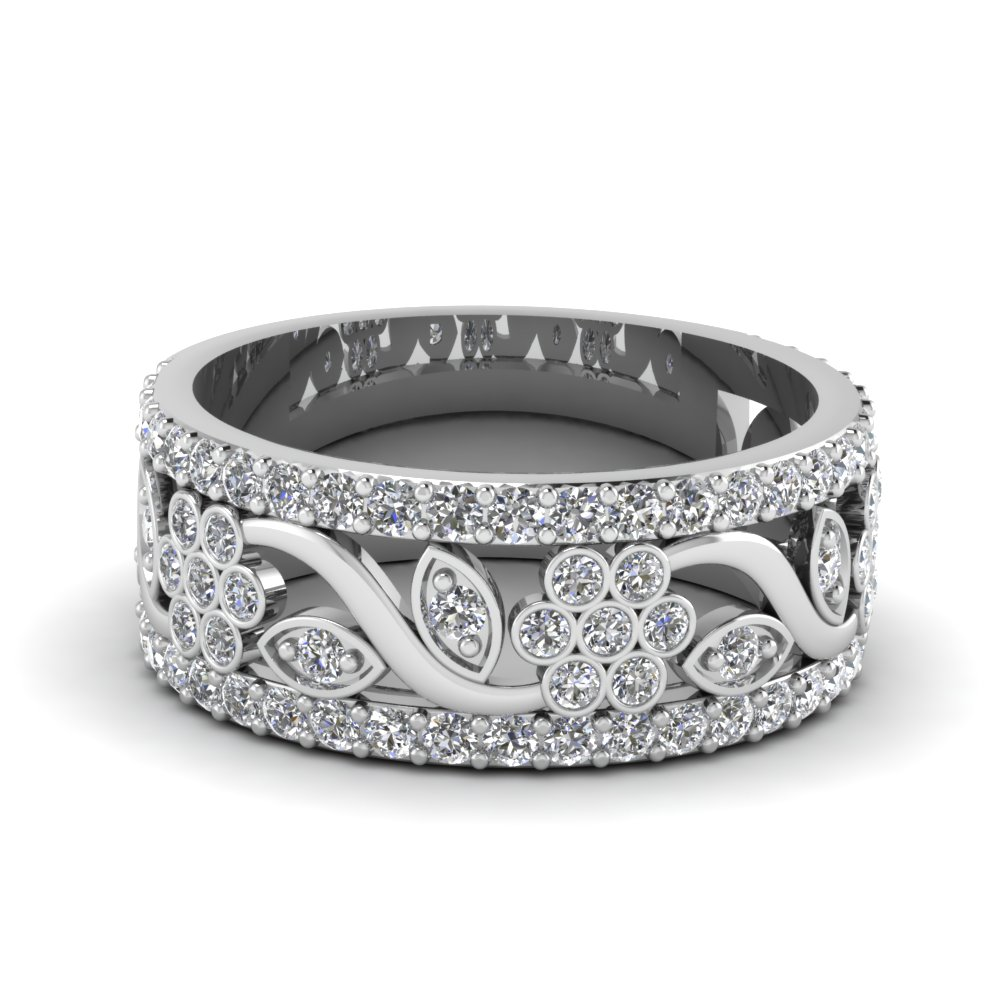flower wide diamond anniversary band in FD121690B NL WG