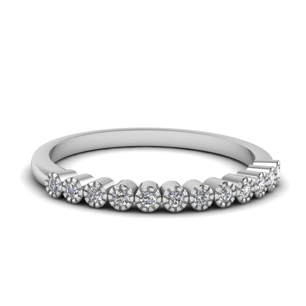 bezel round diamond thin wedding band in FD121390B NL WG