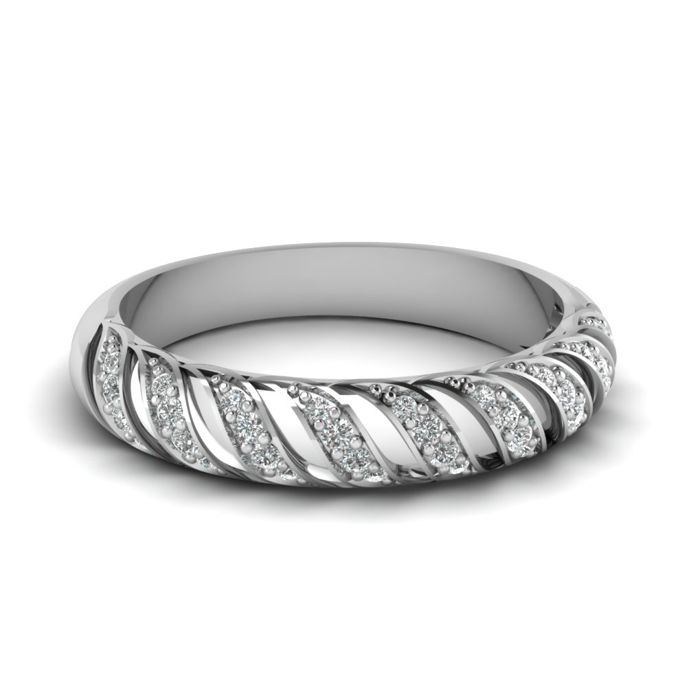 Pave Set Round Diamond White Gold Wedding Band