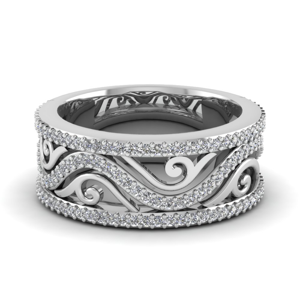 Filigree Wide Diamond Wedding Band In 14k White Gold Fascinating