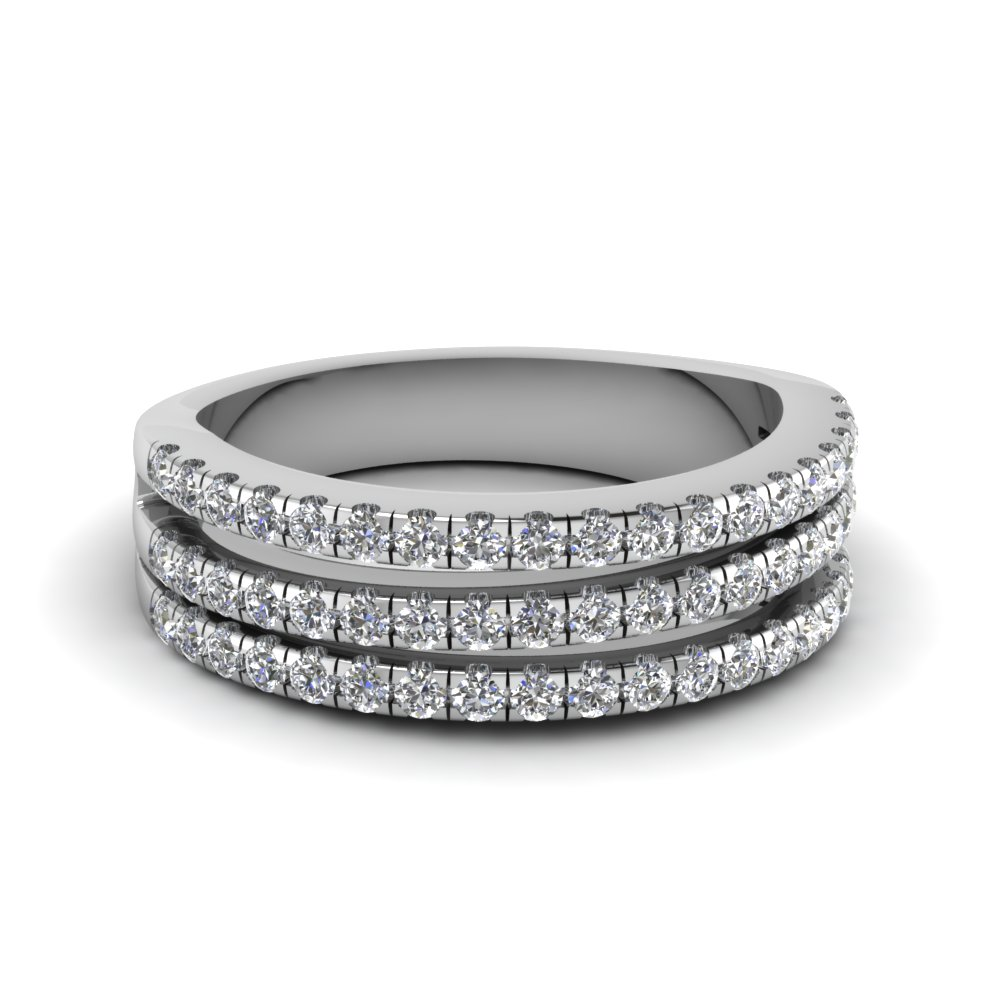 3 row u prong diamond stackable band in FD65654B NL WG