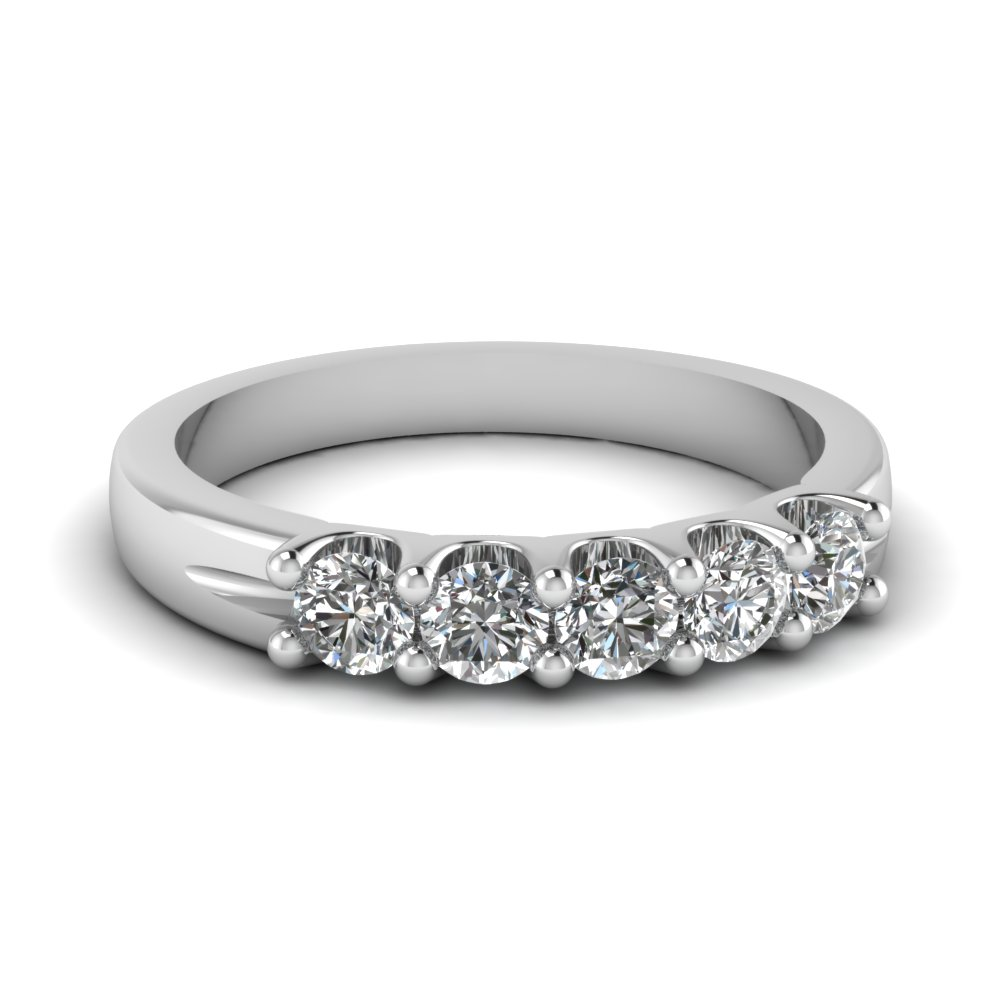 5 stone round diamond wedding anniversary ring in FDWB2773B NL WG
