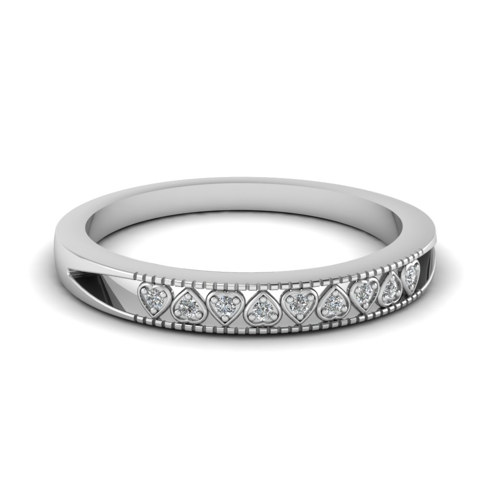 Pave Set Heart Linked Band