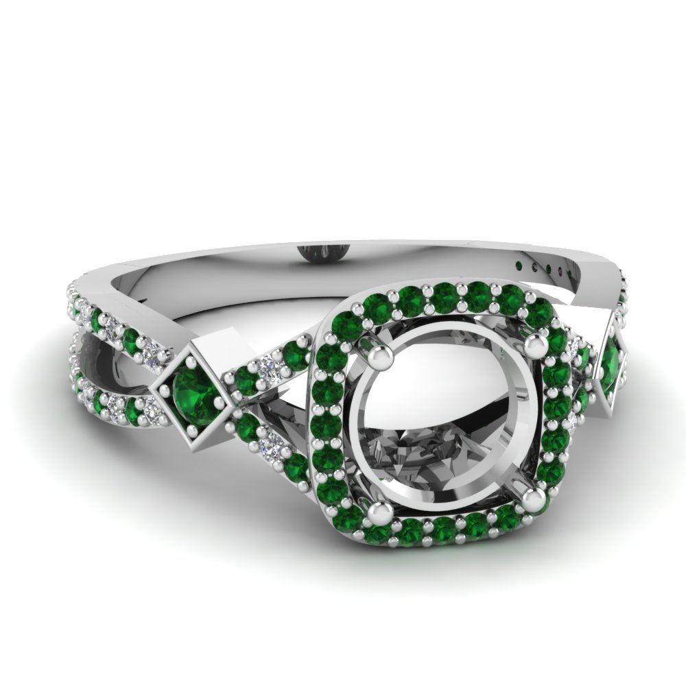 White Gold Emerald Ring Mountings