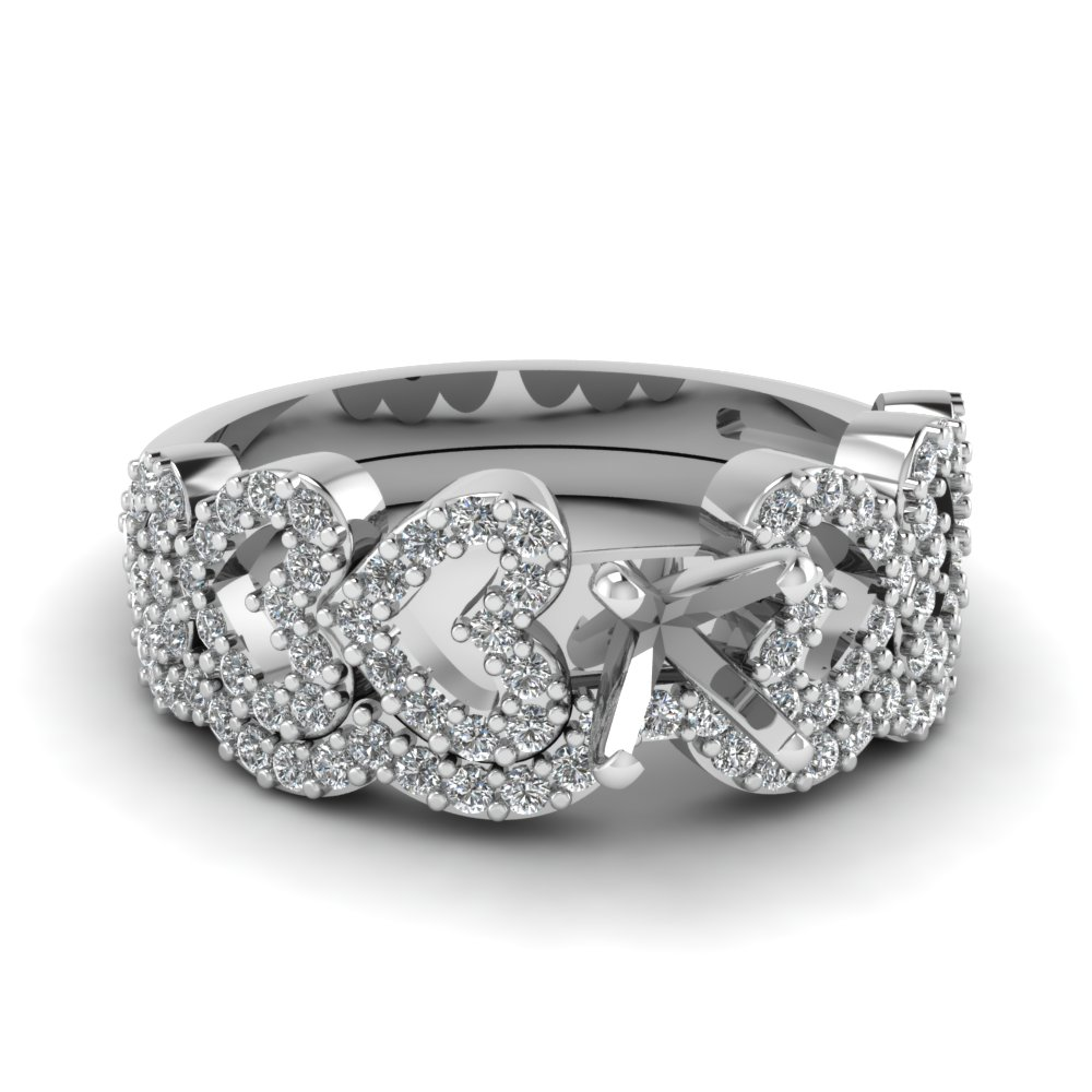 Semi Mount Wedding Ring Setting In 950 Platinum